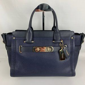 New Coach Carryall Swagger Navy Satchel